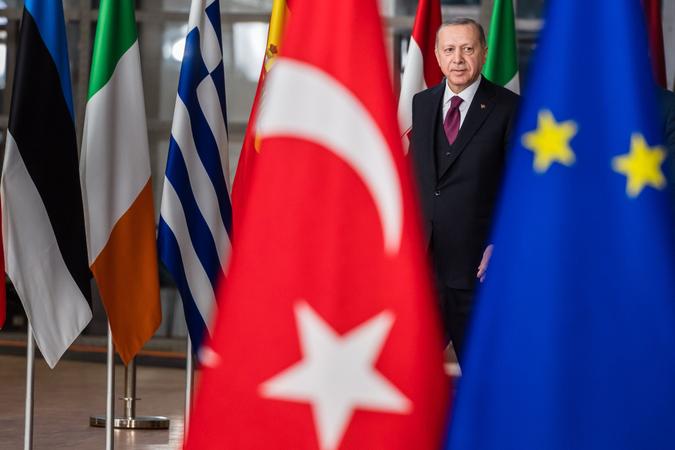 Recep Tayyip Erdogan, Turkey's president, in Brussels on March 9, 2020. CREDIT: Bloomberg photo by Geert Vanden Wijngaert.