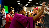 Diamond, center, and Silk, left, greet women gathered for a Donald Trump for President Women for Trump coalition kickoff in King of Prussia, Pa., in July 2019. MUST CREDIT: Washington Post photo by Melina Mara