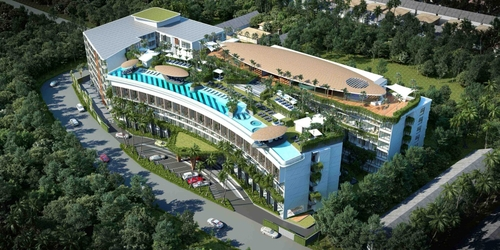 A artists' rendering of an aerial view of HOMA Phuket Town