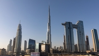 The Burj Khalifa skyscraper stands in the center of the skyline of Dubai, United Arab Emirates, on April 24, 2020. MUST CREDIT: Bloomberg photo by Christopher Pike