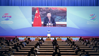 President Xi Jinping addresses the Global Trade in Services Summit of the 2020 China International Fair for Trade in Services via video in Beijing on Friday. [Photo/Xinhua]