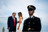 President Donald Trump and first lady Melania Trump attend the