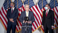 Senate Majority Leader Mitch McConnell, center, speaks during a news conference on Capitol Hill in Washington, D.C., on Sept. 9, 2020. MUST CREDIT: Bloomberg photo by Stefani Reynolds.