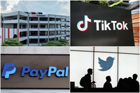 Several companies have announced investments in Singapore this year including (clockwise from top left) DB Schenker, ByteDance, PayPal and Twitter.PHOTOS: DB SCHENKER, AFP, REUTERS