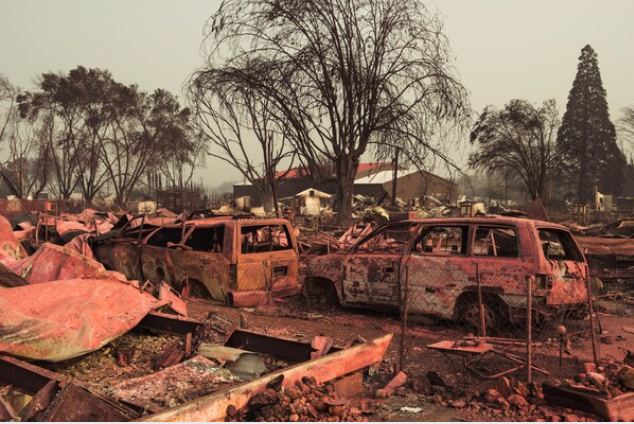 Damage is seen throughout Talent, Ore., on Tuesday. MUST CREDIT: Photo by Mason Trinca for The Washington Post