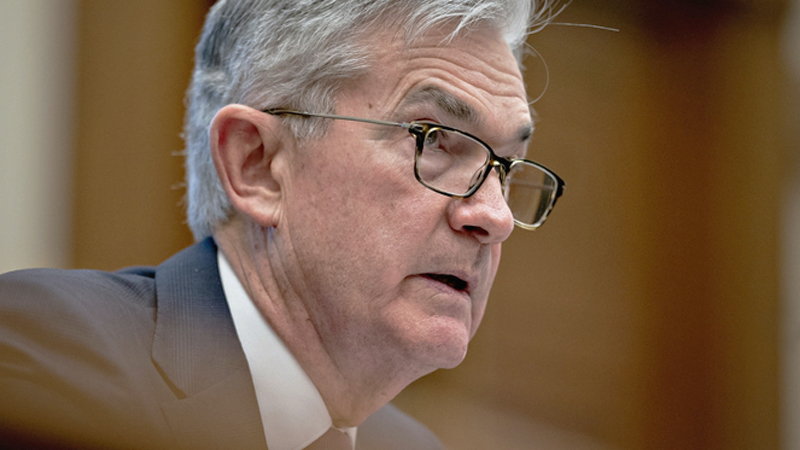 Jerome Powell, chairman of the Federal Reserve, speaks during a Senate Banking Committee hearing in Washington on Feb. 12, 2020. MUST CREDIT: Bloomberg photo by Andrew Harrer.