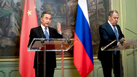 State Councilor and Foreign Minister Wang Yi (L) and Russian Foreign Minister Sergei Lavrov meet the press after their talks in Moscow, Russia, on Sept 11, 2020. [Photo/Xinhua]