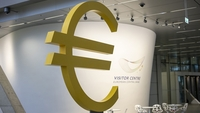 A euro currency symbol sits on display in the visitor centre at the European Central Bank (ECB) building in Frankfurt, Germany, on Nov. 4, 2019. MUST CREDIT: Bloomberg photo by Alex Kraus.