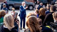 Joe Biden greets supporters in Manitowoc, Wis., on Monday. MUST CREDIT: Washington Post photo by Demetrius Freeman.