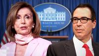 Left : House Speaker Nancy Pelosi, D-Calif. Right : Treasury Secretary Steven Mnuchin