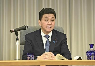 Defense Minister Nobuo Kishi speaks to the press in Tokyo on Friday. (Pool photo / The Yomiuri Shimbun)