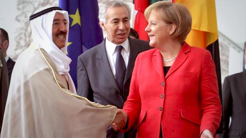 Sheik Sabah Al-Ahmad Al-Jaber Al-Sabah, Kuwait's emir, shakes hands with German Chancellor Angela Merkel in Berlin on April 26, 2010. Sabah has died at 91. MUST CREDIT: Bloomberg photo by Michele Tantussi