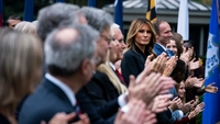 First lady Melania Trump claps as President Trump speaks with Judge Amy Coney Barrett during a ceremony to announce Barrett as his nominee to the Supreme Court at the White House on Sept 26. MUST CREDIT: Washington Post photo by Jabin Botsford