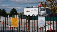 A coronavirus test site at the Pimlico racetrack. Usually, the Preakness is an economic boon for residents in the Park Heights neighborhood. This year, there are no spectators and, therefore, no vending. MUST CREDIT: Washington Post photo by Sarah L. Voisin.