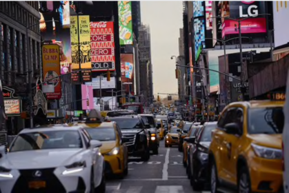 Vehicles sit in traffic during rush hour in the Times Square area of New York on April 2, 2019. MUST CREDIT: Bloomberg photo by John Taggart.