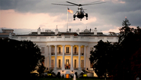 President Donald Trump returns to the White House on Marine One after being treated for covid-19 at Walter Reed National Military Medical Center on Monday, Oct. 5, 2020. MUST CREDIT: Washington Post photo by Matt McClain