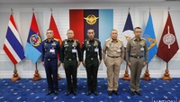 From left, Air Chief Marshal Airbull Suttiwan, Army chief General Narongphan Jitkaewtae, military commander-in-chief General Chalermpol Srisawat, Navy chief Admiral Chatchai Sriworakhan and National Police chief Pol General Suwat Jangyodsuk.