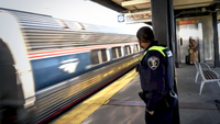 Amtrak Officer Alan Wilson waits for a southbound train after checking in at a Maryland station in February 2020. MUST CREDIT: Washington Post photo by Toni L. Sandys