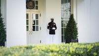 A Marine stands watch outside the West Wing, a sign that the president is in the Oval Office. President Trump is claiming to be cured after his recent bout with covid-19. MUST CREDIT: Washington Post photo by Jabin Botsford /Photo by: Jabin Botsford — The Washington Post Location: Washington, United States