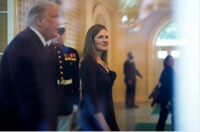 President Donald Trump walks with Judge Amy Coney Barrett after announcing her nomination to the Supreme Court on Sept. 26, 2020. MUST CREDIT: Washington Post photo by Jabin Botsford.