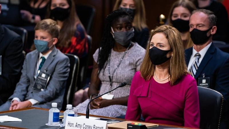 Supreme Court nominee Judge Amy Coney Barrett appears before the Senate Judiciary Committee on Monday. MUST CREDIT: Washington Post photo by Demetrius Freeman