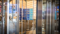 The ViacomCBS logo is displayed on doors at its headquarters in New York, on Feb. 9, 2020. MUST CREDIT: Bloomberg photo by Tiffany Hagler-Geard.