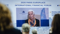 Christine Lagarde, president of the European Central Bank, is displayed on a screen during a remote address to the Europlace financial forum in Paris on Oct. 7, 2020. MUST CREDIT: Bloomberg photo by Cyril Marcilhacy.