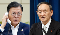 President Moon Jae-in and Japanese Prime Minister Yoshihide Suga (Cheong Wa Dae)