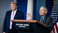 Director of the National Institute of Allergy and Infectious Diseases Anthony Fauci, right, and President Donald Trump are shown during a briefing on coronavirus at the White House on April 10, 2020 in Washington. MUST CREDIT: Washington Post photo by Jabin Botsford