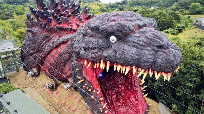 The huge Godzilla attraction at Nijigen no Mori on Awaji Island, Hyogo Prefecture, Japan. MUST CREDIT: Yomiuri-Japan News photo.