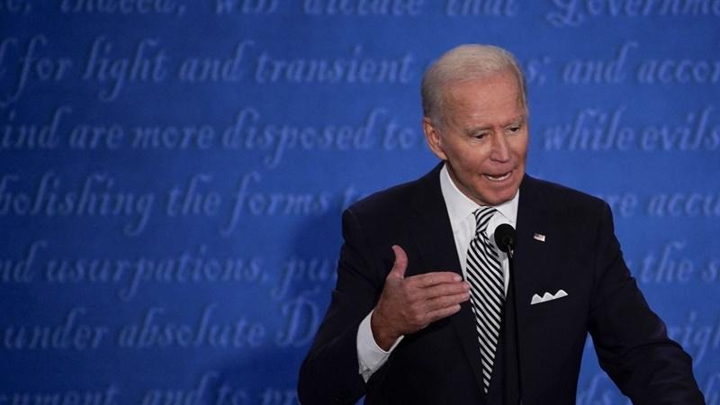Joe Biden, 2020 Democratic presidential nominee, speaks during the first U.S. presidential debate in Cleveland on Sept. 29, 2020. MUST CREDIT: Bloomberg photo by Matthew Hatcher.