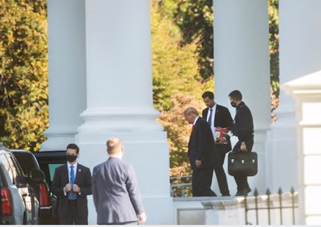 President Trump departs the White House en route to various events on Saturday. Unlike Joe Biden's campaign, which has relied heavily on paid advertising, the leaders of the Trump operation have focused more on using the president's public events to get his message out. MUST CREDIT: Washington Post photo by Amanda Voisard