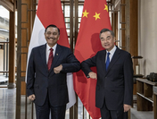 State Councilor and Foreign Minister Wang Yi holds talks with Luhut Binsar Pandjaitan, Indonesian President's special envoy and the country's Coordinator for Cooperation with China, in Tengchong, Southwest China's Yunnan province, Oct 9, 2020. [Photo/Xinhua]