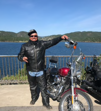 Kenny Cervantes rode his motorcycle from Nebraska to Sturgis, S.D. in August. MUST CREDIT: Photo courtesy of family