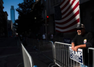 Joe Mullica, 56, along with a select few supporters of President Trump, maintain their protest of the vote count outside the Pennsylvania Convention Center in Philadelphia on Nov. 8. MUST CREDIT: Photo for The Washington Post by Amanda Voisard