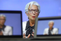 Christine Lagarde, president of the European Central Bank, is seen on a TV screen speaking during a live stream video of the central bank's virtual rate decision news conference in Frankfurt, Germany, on Oct. 29, 2020.. MUST CREDTI: Bloomberg photo by Chris Ratcliffe.