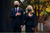 President-elect Joe Biden and his wife, Jill Biden, make a Veterans Day stop at the Korean War Memorial Park in Philadelphia on Nov. 11. MUST CREDIT: Washington Post photo by Demetrius Freeman