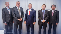 From left, Ambassadors to Thailand Brian John Davidson (UK), Allan McKinnon (Australia), Michael George DeSombre (US), Georg Schmidt (Germany), and Kazuya Nashida (Japan).