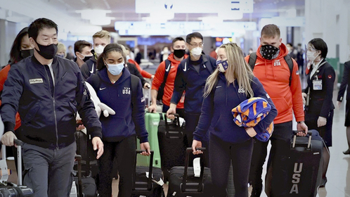 U.S. gymnasts arrived at Haneda Airport in Tokyo, on Nov. 4, 2020 in preparation for the first international event for an Olympic sport to be held in Japan since the outbreak of the coronavirus pandemic. MUST CREDIT: Japan News-Yomiuri