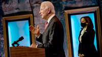 President-elect Joe Biden speaks Thursday at the Queen theater in Wilmington, Del., after meeting virtually with 10 U.S. governors. Biden has brushed aside President Trump's efforts to reverse the election results, saying,