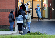 A line for coronavirus tests at the Angarai Testing Center in Silver Spring, Md., on Nov. 18. Experts say the winter is expected to bring a spike in virus cases much higher than seen the beginning of the pandemic. MUST CREDIT: Washington Post photo by Toni L. Sandys