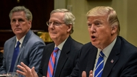 President Donald Trump, right, meets with Republican leadership, including Senate Majority Leader Mitch McConnell of Kentucky, center, and House Minority Leader Kevin McCarthy of California in 2017. MUST CREDIT: Washington Post photo by Bill O'Leary
