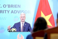 US National Security Adviser Robert O'Brien speaks to Sunday meeting at the Government Guest House in Hà Nội with students, lecturers and postgraduates from the Diplomatic Academy of Việt Nam. — VNA/VNS Photo Lâm Khánh