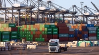 A truck on the dockside at the major British port of Felixstowe, England. MUST CREDIT: Bloomberg photo by Chris Ratcliffe