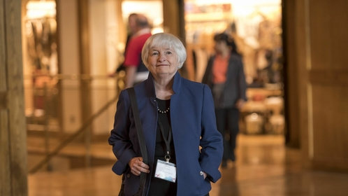 Janet Yellen, President-elect Biden's nominee for treasury secretary, at the Jackson Hole economic symposium, sponsored by the Federal Reserve Bank of Kansas City, in Moran, Wyo., on Aug. 22, 2019. MUST CREDIT: Bloomberg photo by David Paul Morris.