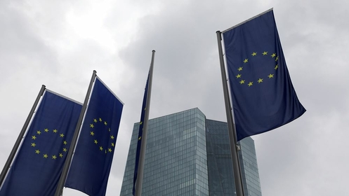 European Union flags fly outside the European Central Bank headquarters in Frankfurt, Germany, on July 16, 2020. MUST CREDIT: Bloomberg photo by Alex Kraus.