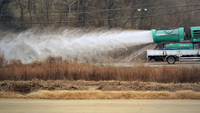 A truck disinfects the surrounding area of a duck farm in Jangseong, 308 kilometers south of Seoul, on Friday. (Yonhap)