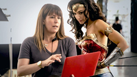 Director Patty Jenkins and Gal Gadot work on
