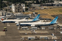 Boeing airplanes parked at Boeing Field in Seattle on July 27, 2020. The Trump administration imposed tariffs on additional products from the European Union as part of a long-running dispute over subsidies to aircraft makers Airbus SE and Boeing Co. MUST CREDIT: Bloomberg photo by David Ryder