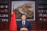 President Xi Jinping delivers a New Year speech Thursday evening in Beijing to ring in 2021. [Photo/Xinhua]